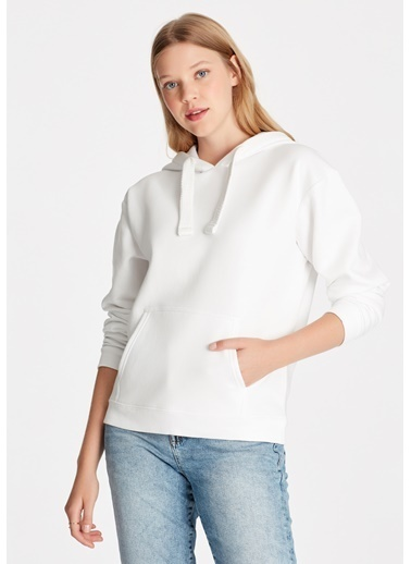 Mavi Kapüşonlu Sweatshirt Beyaz